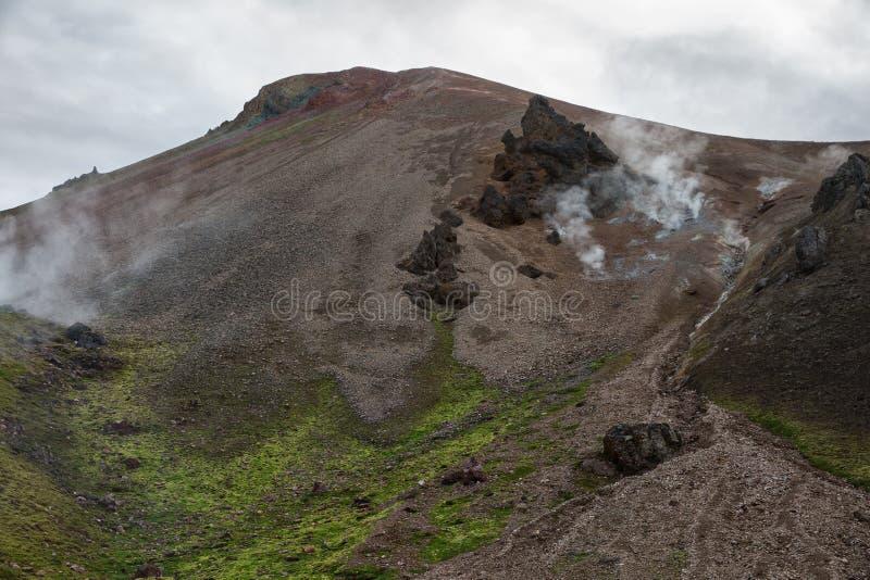 Volcanic smoking mountains of Landmannalaugar reserve in Iceland stock photo