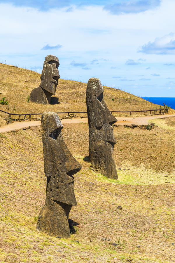Volcanic Stone Statue at Rapa Nui National Park. In Easter Island, Chile royalty free stock photos