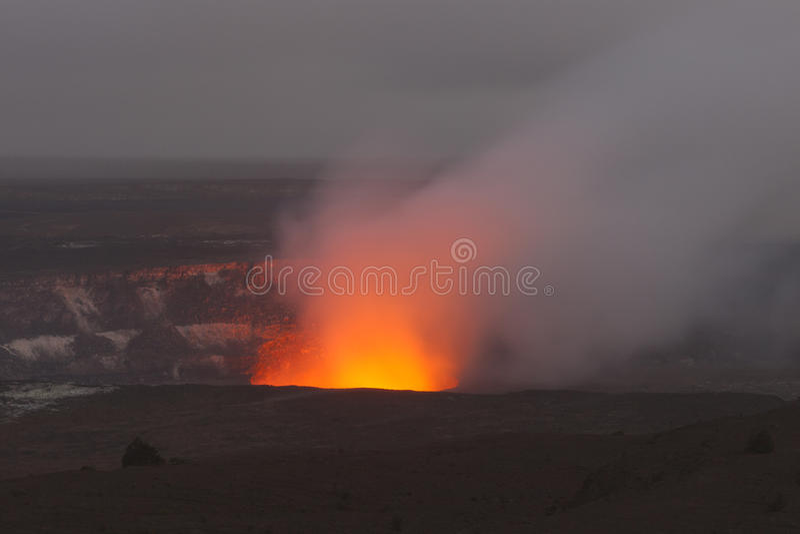 Volcano. Panoramic view of active Kilauea volcano crater, Hawaii Volcanoes National Park, Big Island stock photography
