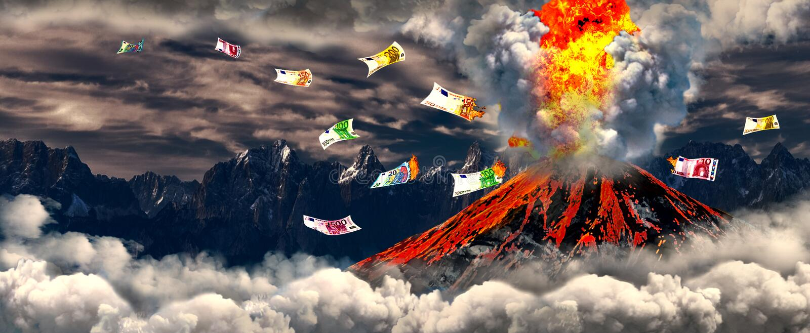 Volcano with burning cash. Erupting volcano with burning cash euro banknotes. Illustrations for a financial crisis stock illustration