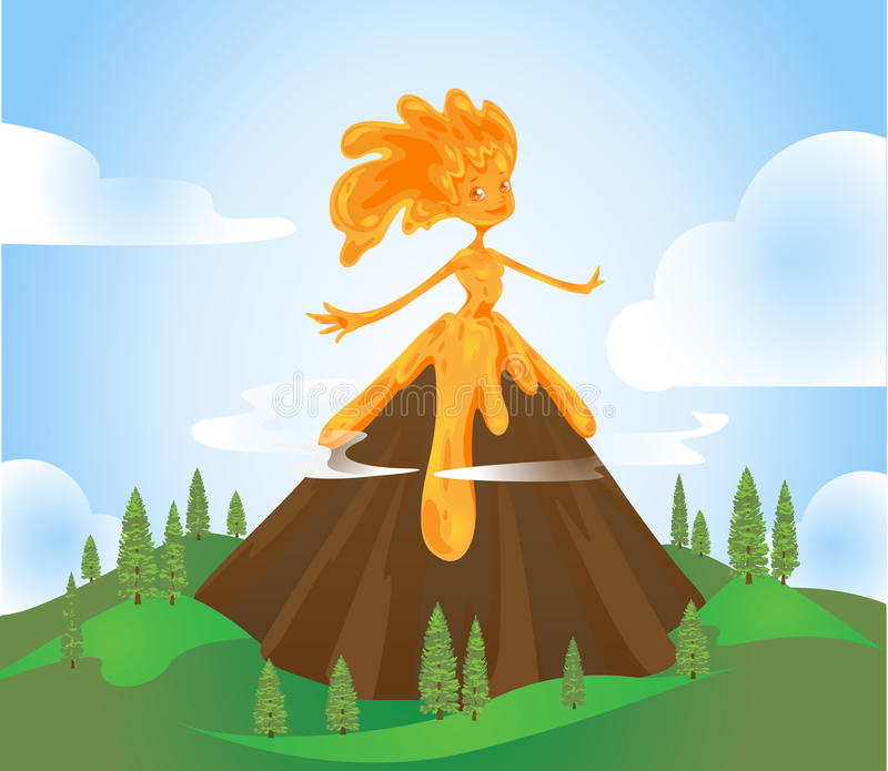 Volcano Character royaltyfri illustrationer