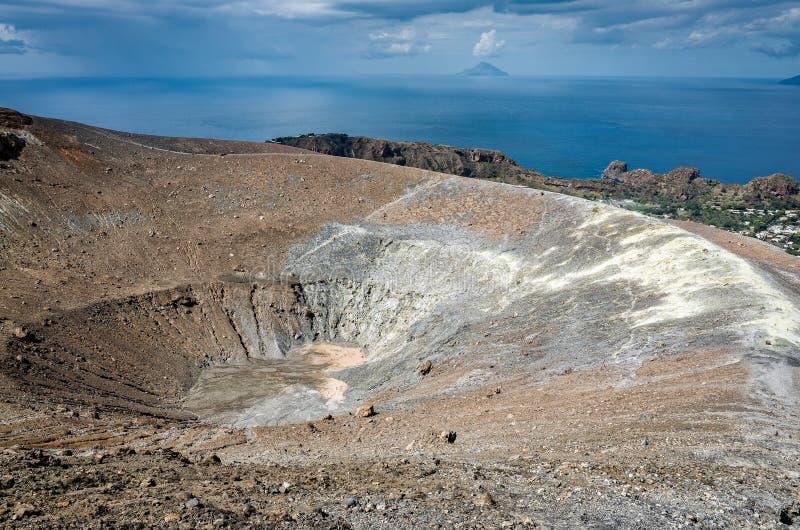 Volcano Crater Aeolian Islands Italy fotos de stock