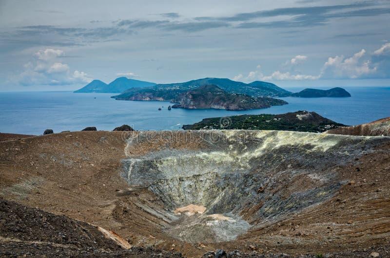 Volcano Crater Aeolian Islands Italy foto de stock royalty free