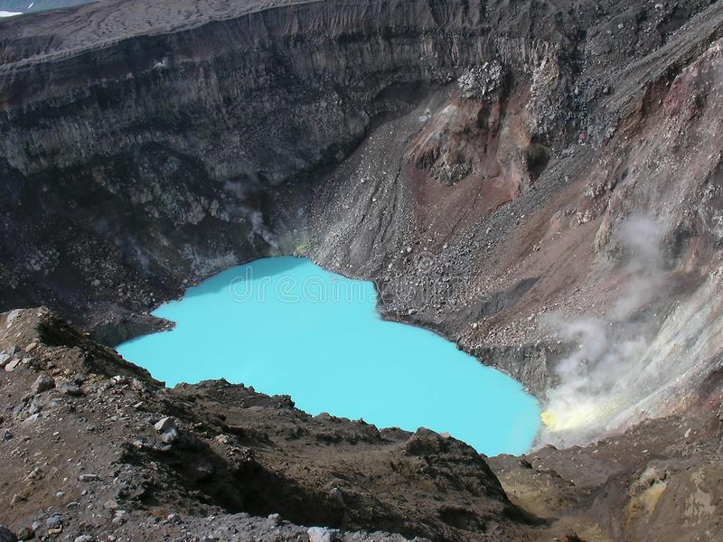 Volcano crater lake royalty free stock photo