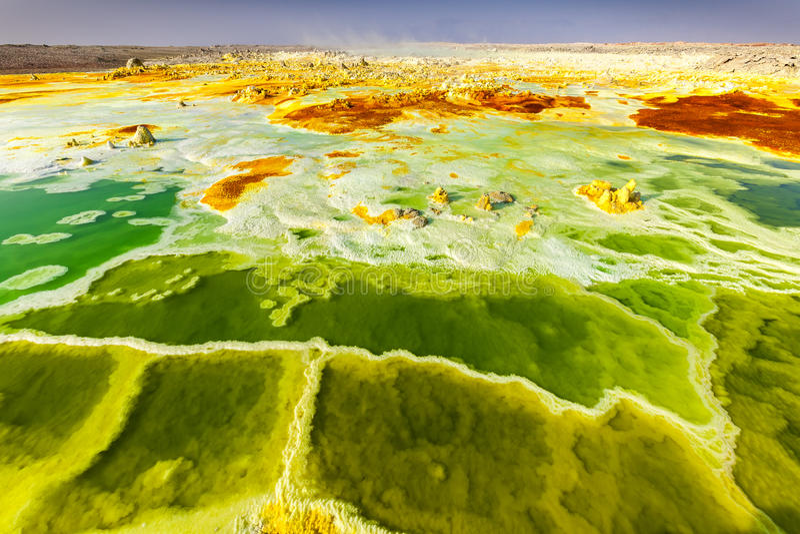 Volcano Dallol Etiopien arkivbild