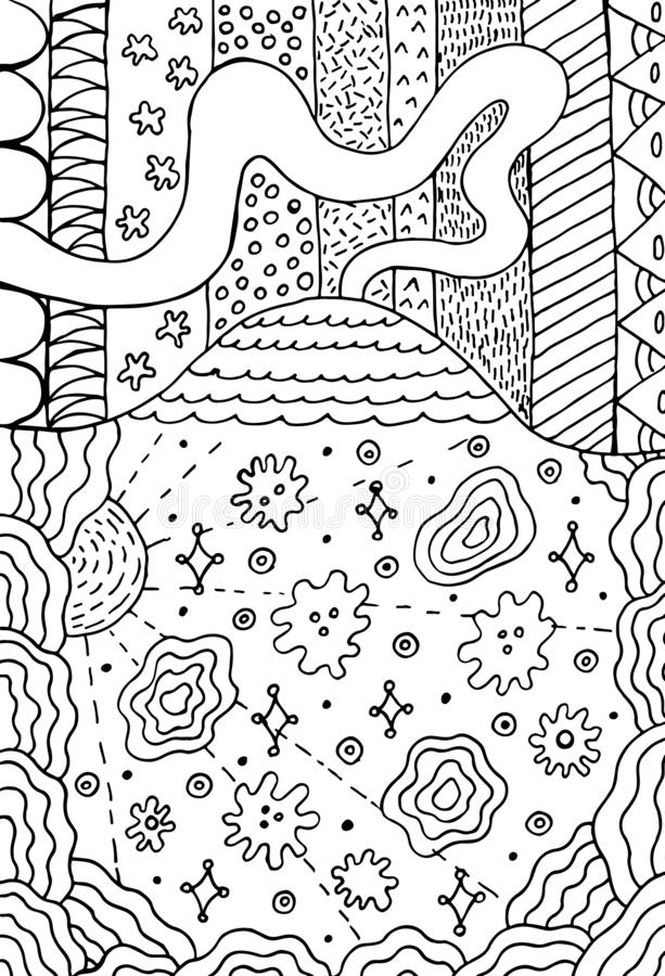 Volcano doodle landscape with floral meadow. Mountain drawing. Hand drawn coloring page. Vector illustration royalty free illustration