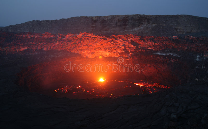 Download Volcano Erta Ale Before Sunrise Stock Image - Image: 8642997