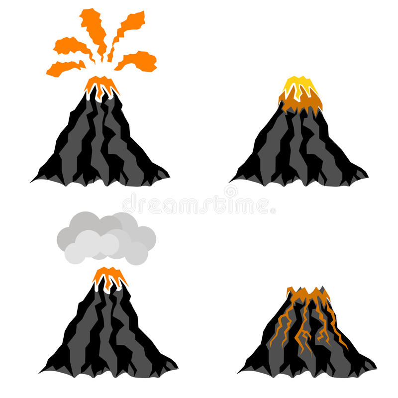 Volcano Erupting Peak of Mountain. Fiery Crater. Volcano Erupting Icons on White Background. Peak of Mountain. Fiery Crater of Volcano vector illustration