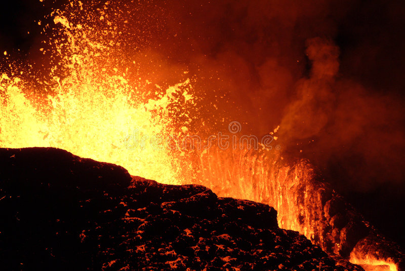 Volcano eruption. In Reunion island royalty free stock photo