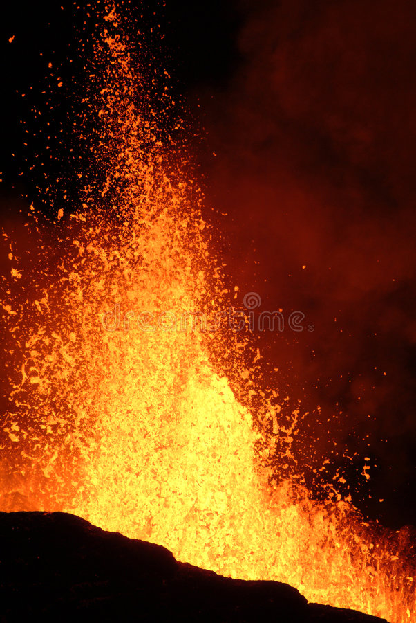 Volcano eruption. In Reunion island stock photography