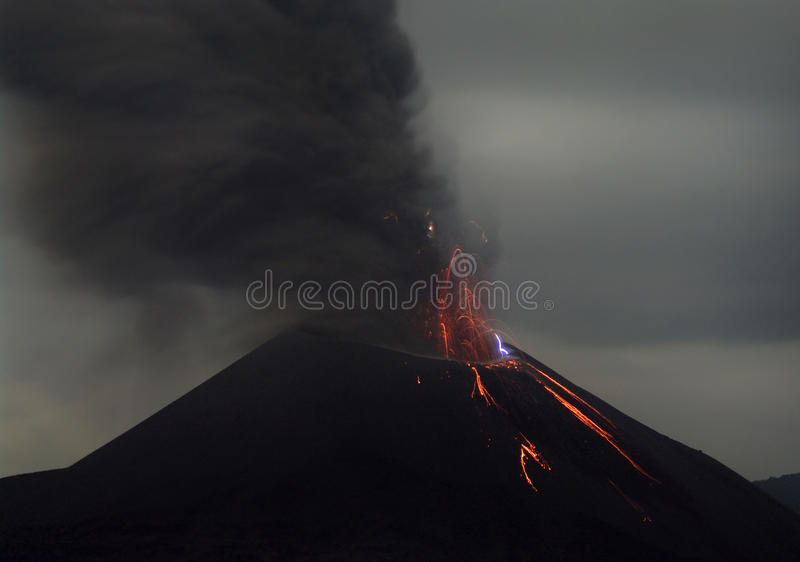 Volcano eruption. Anak Krakatau, Indonesia stock images
