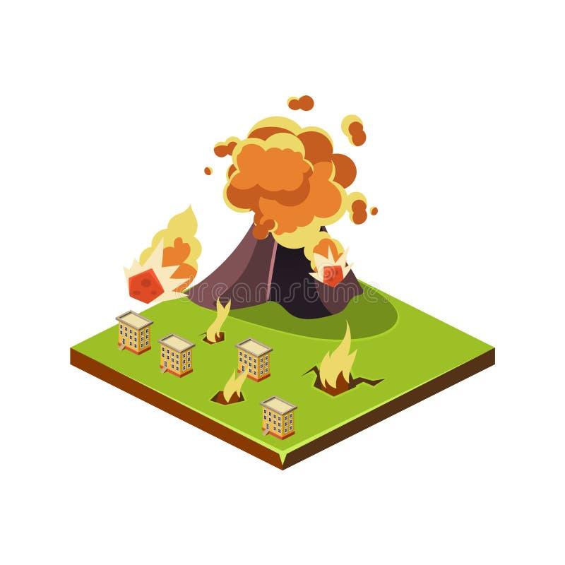 Volcano Eruption Danger Icono del desastre natural Ilustración del vector libre illustration