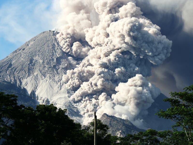 Volcano eruption effect stock photo