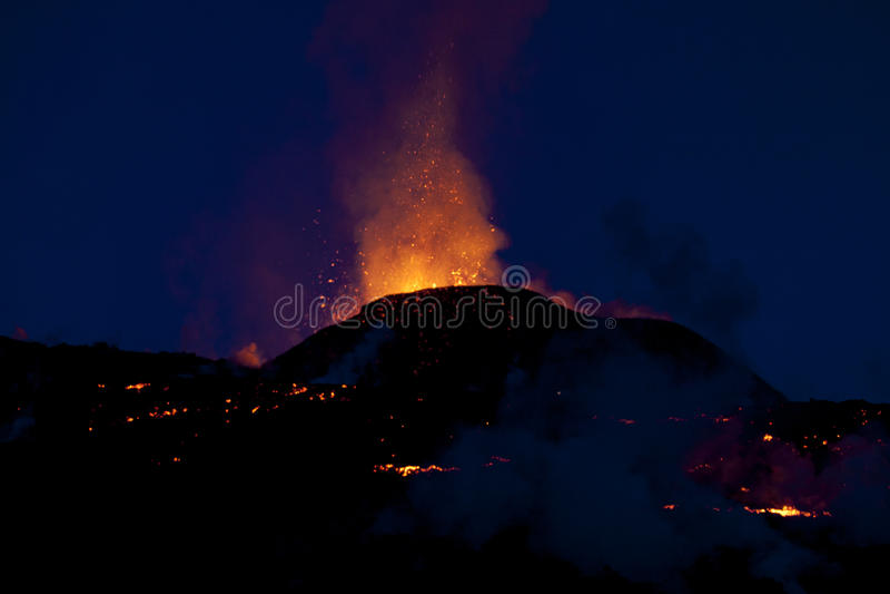 Volcano Eruption, fimmvorduhals Iceland stock image