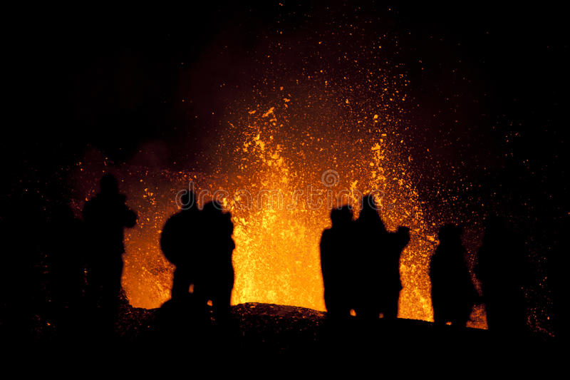 Volcano Eruption, fimmvorduhals Iceland stock photo