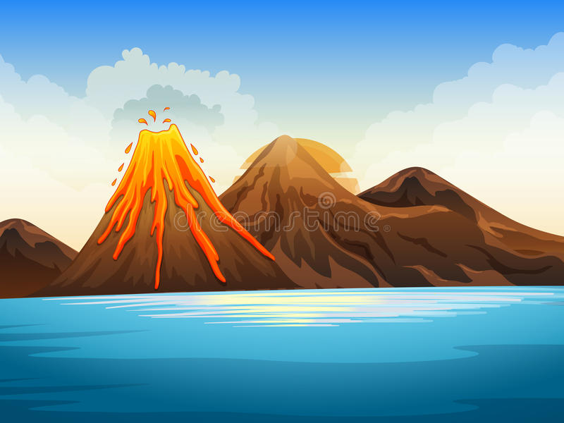 Volcano eruption by the lake vector illustration