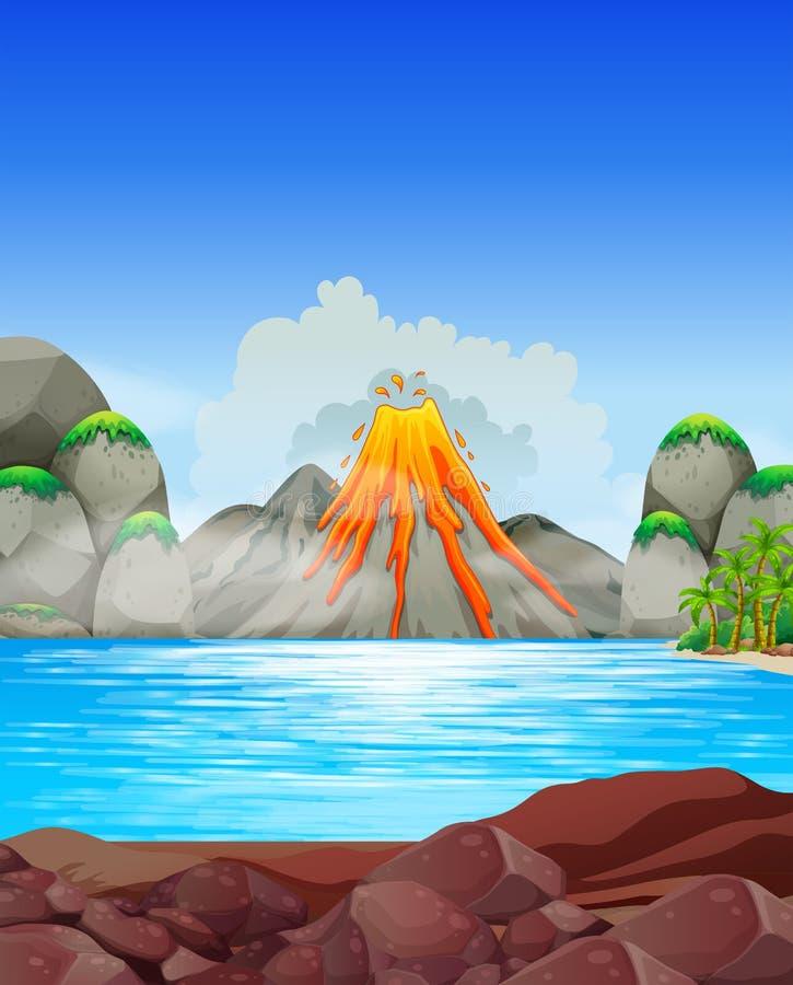 Volcano eruption at the lake royalty free illustration