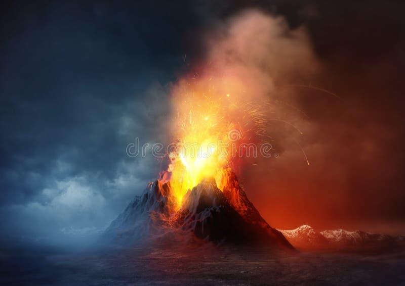 Volcano Eruption vector illustration