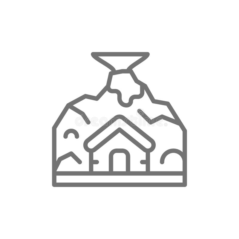 Volcano eruption, natural disaster, catastrophe line icon. royalty free illustration