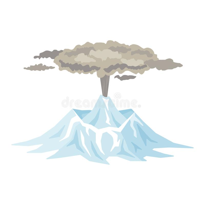 Volcano eruption with smoke, ashes isolated on white background. Volcanic activity, sleeping volcano - flat vector vector illustration