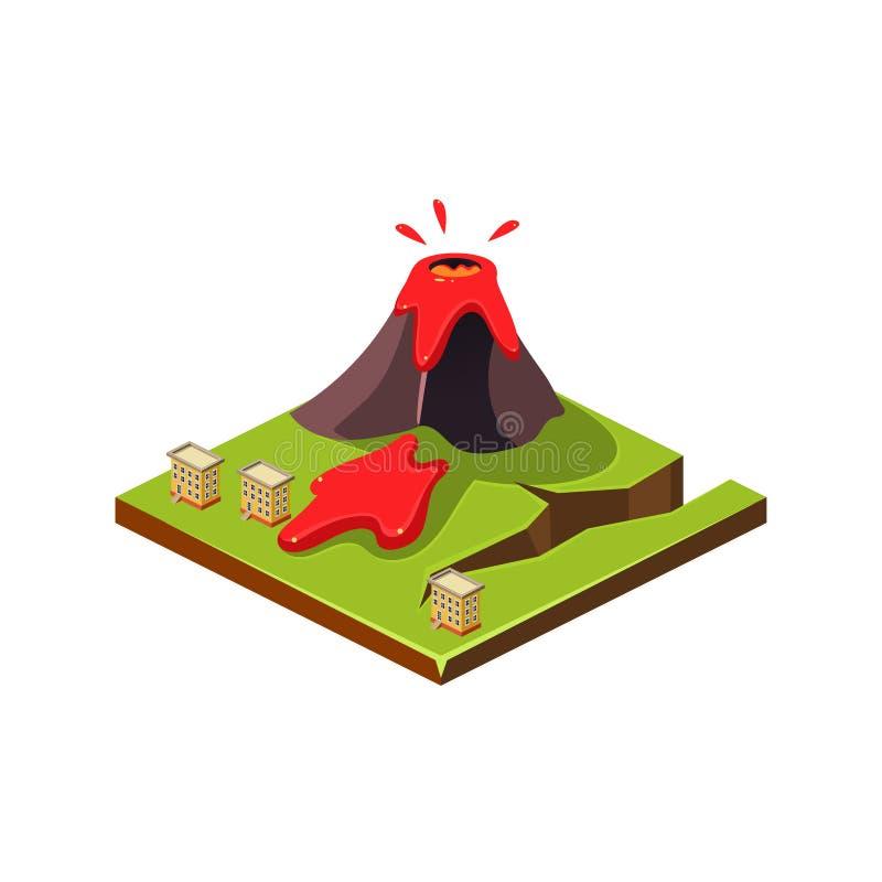 Volcano Eruption y lava Icono del desastre natural Ilustración del vector stock de ilustración