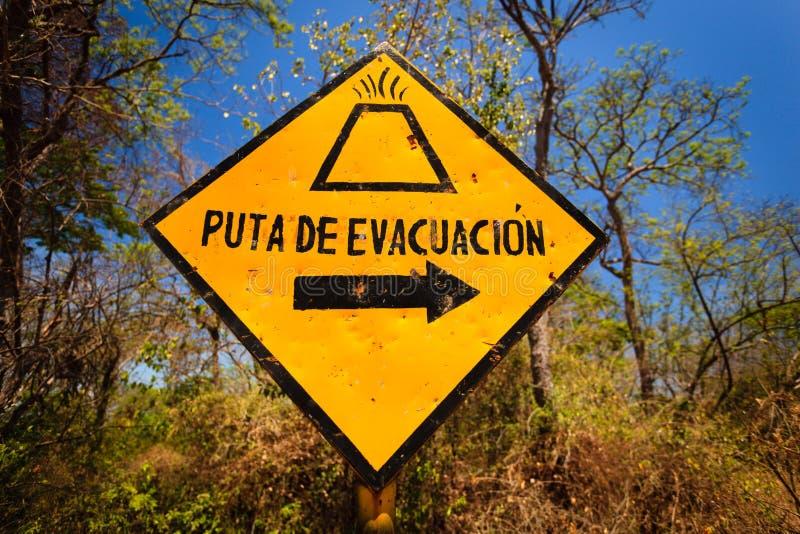 Volcano evacuation route sign Ometepe island. OMETEPE ISLAND, NICARAGUA: Volcano evacuation route sign on Ometepe Island stock photos
