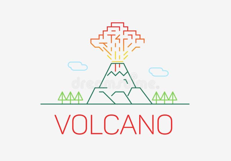 Volcano exploding thin line icon flat design logo elements. stock illustration