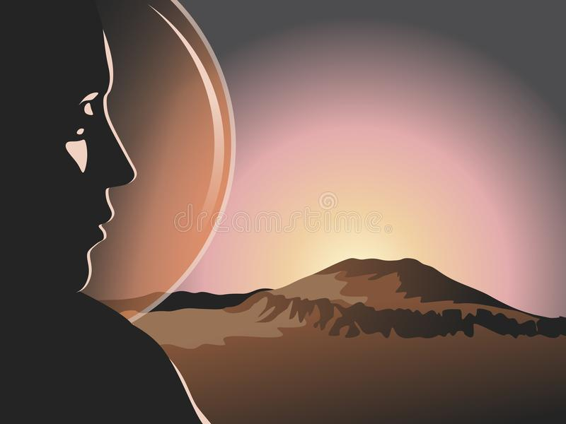 Volcano. The first colonist and the volcano Olympus on Mars. Vector format