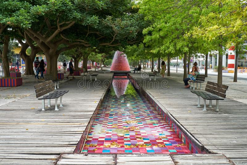 Volcano Fountain at the Park of the Nations. Lisbon. Portugal royalty free stock photo