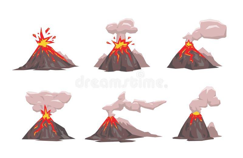 Volcano Icon Set. Flat vector illustration. Isolated on white background. royalty free illustration
