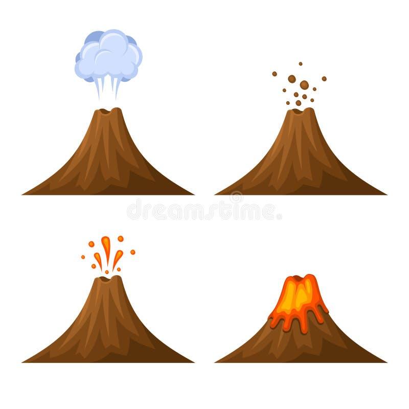 Volcano Icon Set no fundo branco Vetor ilustração do vetor