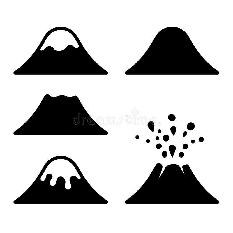 Volcano Icons Set Vector stock illustratie