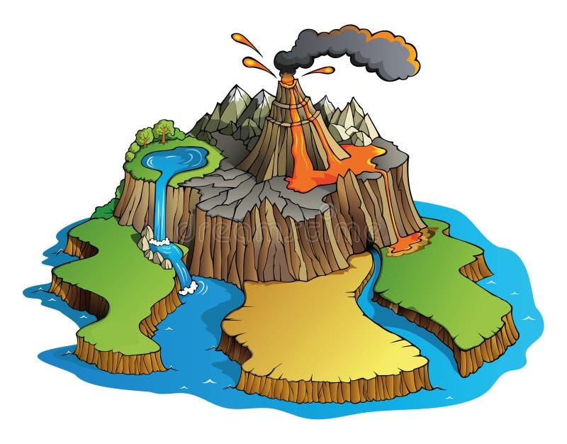 Volcano island. Volcano erupts on island, vector illustration