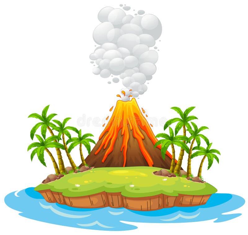 Volcano island. Volcano on an island with smoke royalty free illustration
