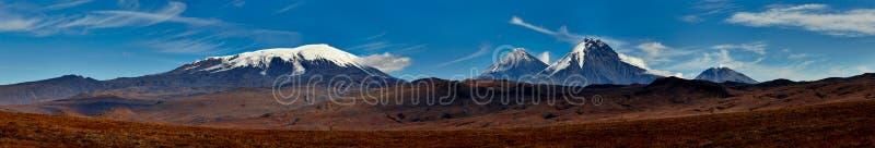 Volcano of Kamchatka. Late fall panorama stock image