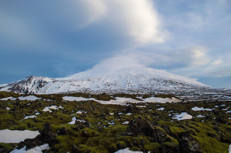Volcano and lava fields in iceland royalty free stock image