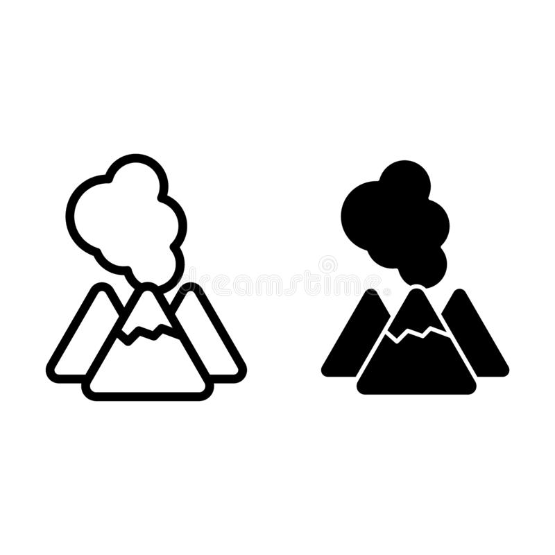 Volcano line and glyph icon. Lava vector illustration isolated on white. Crater outline style design, designed for web. And app. Eps 10 royalty free illustration