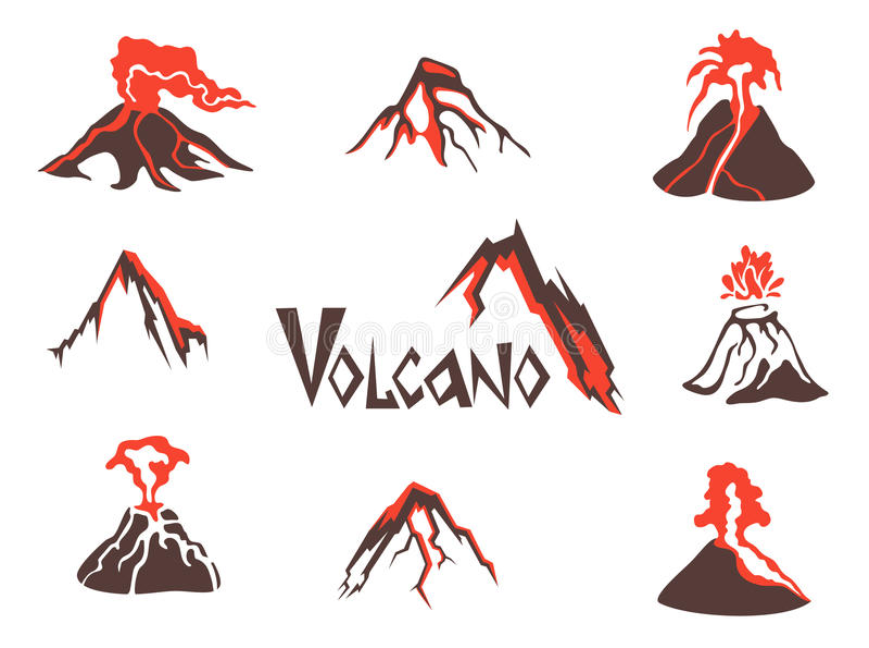 Volcano logo set. Volcanic eruption. Vector illustration, isolated on white. stock illustration
