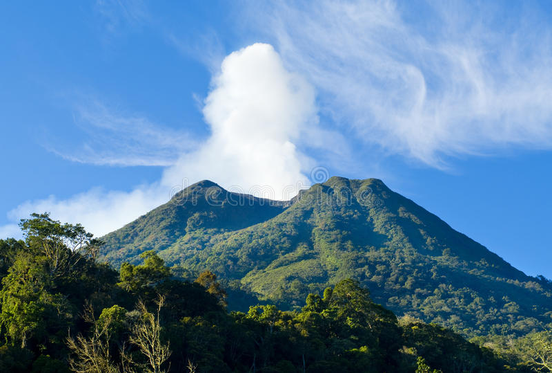 Volcano Mount Sinabung at North Sumatera royalty free stock photography