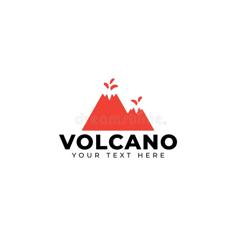 Volcano mountain logo design template vector isolated. Minimalist, rocky, hills, panorama, sky, icon, logotype, outdoor, vacation, creek, natural, nature royalty free illustration