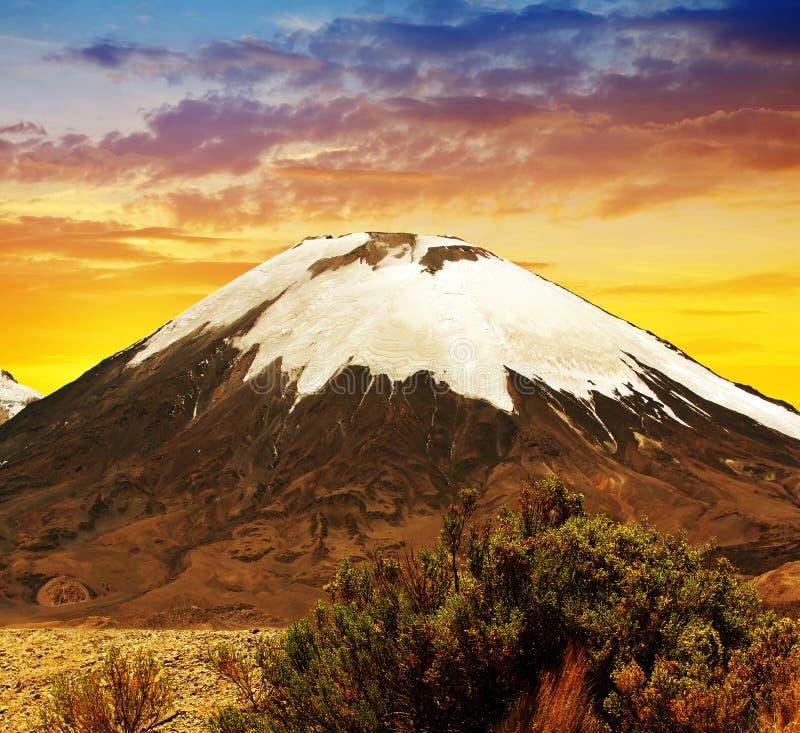 Volcano Parinacota en la puesta del sol Chile, Suramérica imagen de archivo libre de regalías