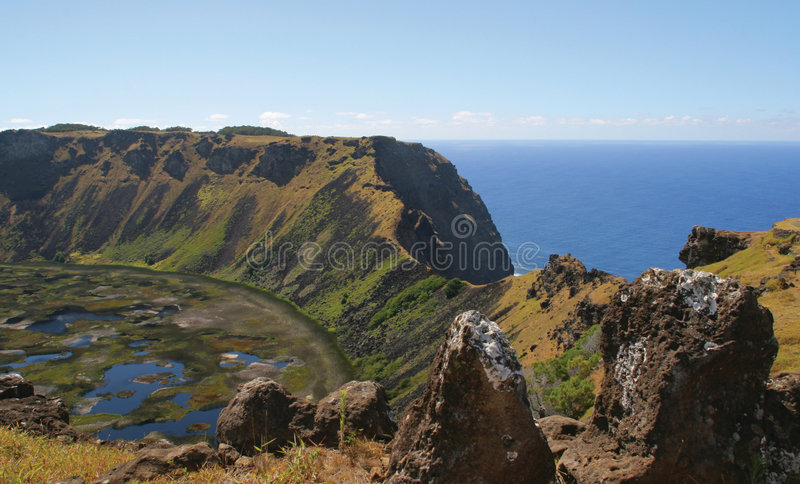 Volcano Rano Kau, Easter Island. Volcano Rano Kau is one of the most colourful places on whole Easter Island royalty free stock photo