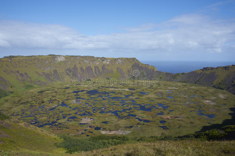 Volcano Rano Kau, Easter Island, Chile. Caldera of the extinct volcano Rano Kau within the UNESCO World Heritage Site of Rapa Nui National Park on Easter Island royalty free stock photography