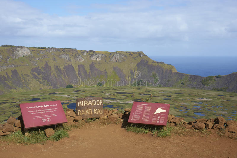 Volcano Rano Kau, Easter Island, Chile. Information signs on the edge of the caldera of the extinct volcano Rano Kau within the UNESCO World Heritage Site of stock images