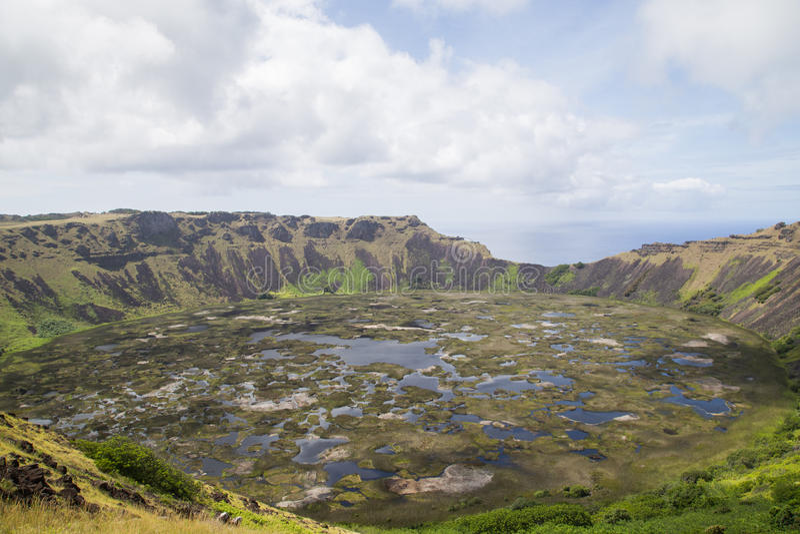 Volcano Rano Kau på Rapa Nui, påskö arkivfoto