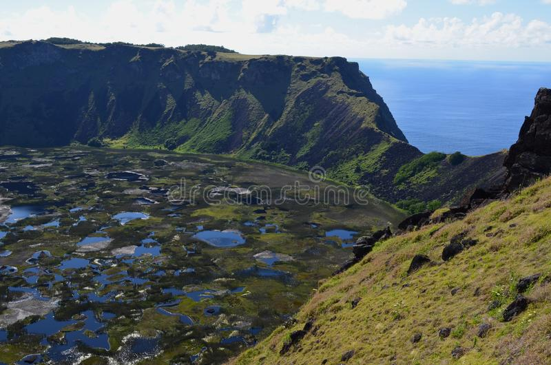 Volcano Rano Kau/ Rano Kao, the largest volcano crater in Rapa Nui Easter Island. Rano Kau, also known as Rano Kao, has a crater lake which is one of the island` royalty free stock image