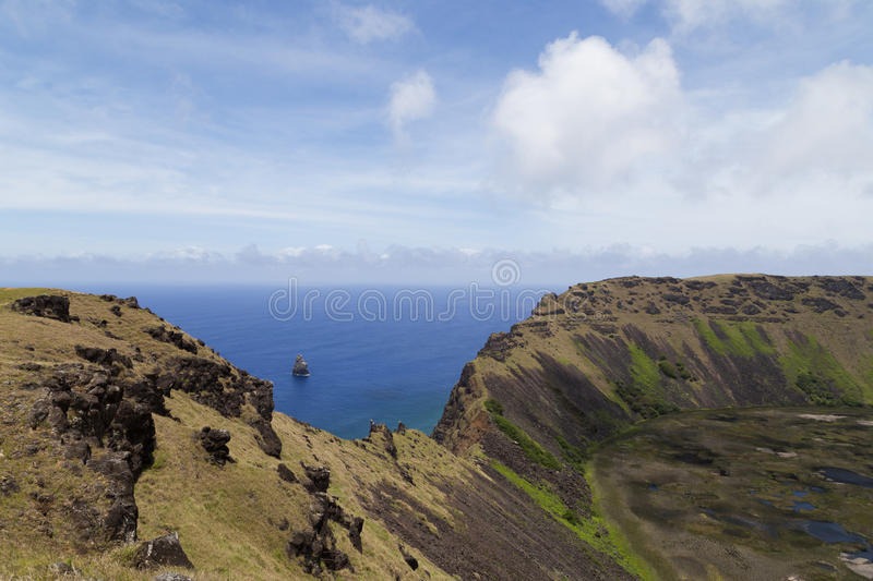 Volcano Rano Kau on Rapa Nui, Easter Island. Photograph of the crater of volcano Rano Kau on Rapa Nui, Easter Island, Chile royalty free stock image
