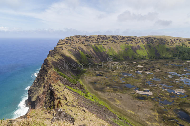 Volcano Rano Kau on Rapa Nui, Easter Island. Photograph of the crater of volcano Rano Kau on Rapa Nui, Easter Island, Chile royalty free stock photos