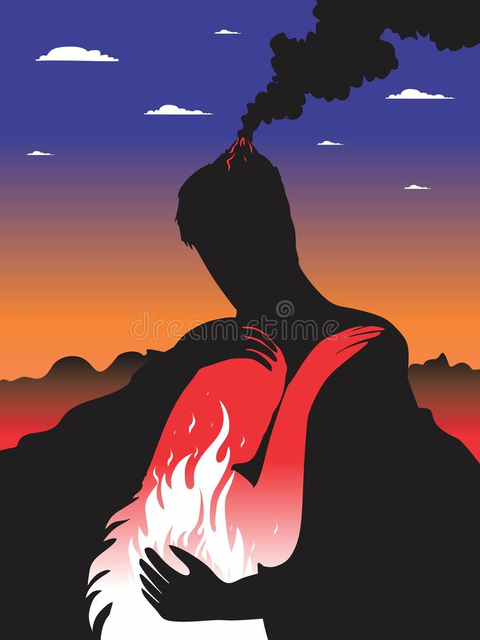 Volcano. Rock and magma. Calm and anger. Vector format