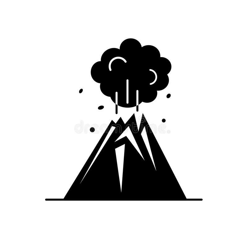 Volcano silhouette icon in flat style royalty free illustration